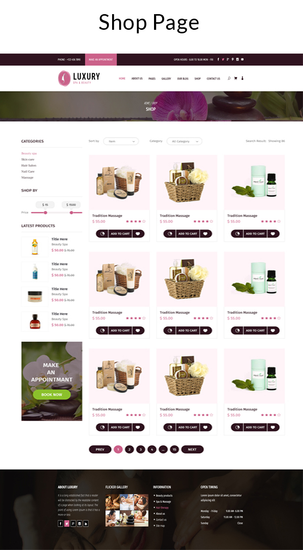 Luxury Spa and Beauty OpenCart Theme