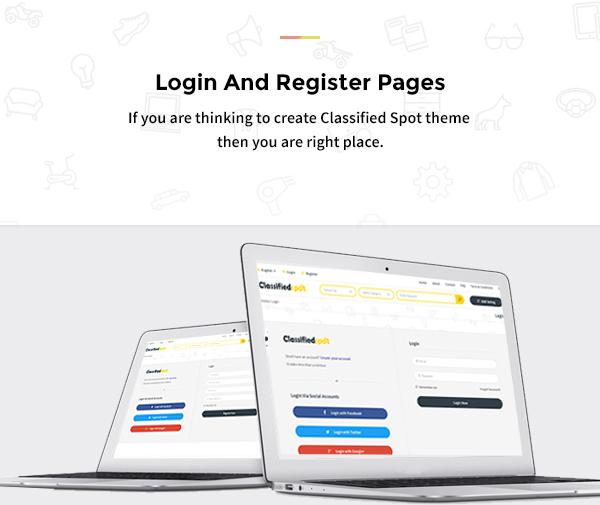 classified spot html login registter page design