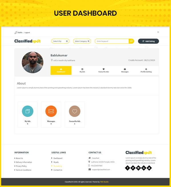 classified custom script user dashboard page