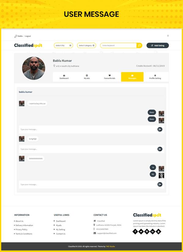 classified custom script user message page
