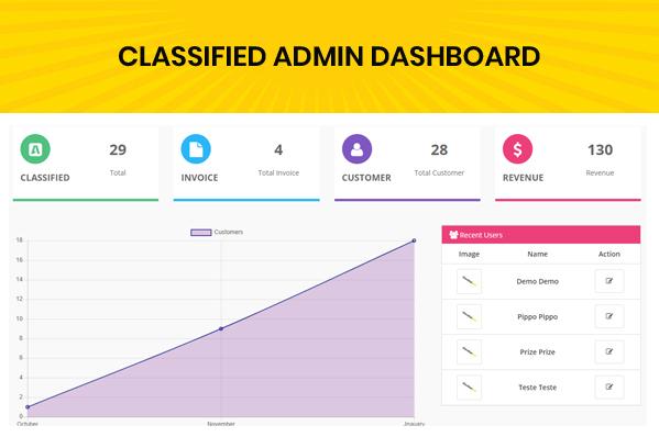 classified custom script admin dashboard page