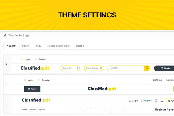 classified custom script admin website theme setting page