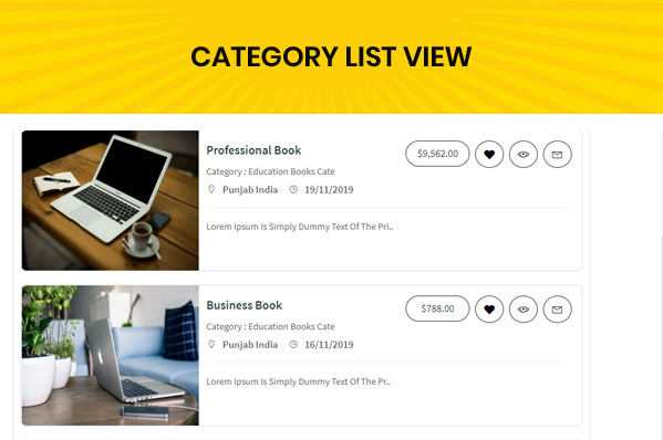 classified custom script category list view page