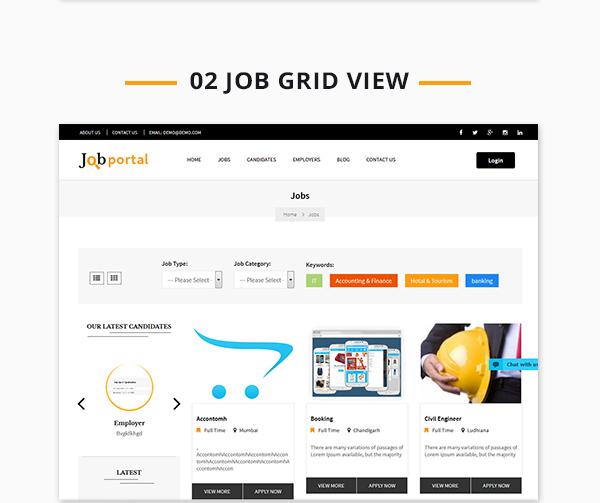 Job Portal Script job gridview