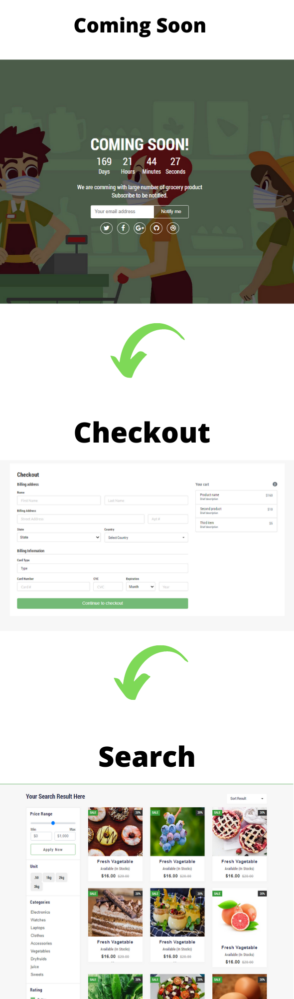 vegitable html template checkout, commingsoon, search page